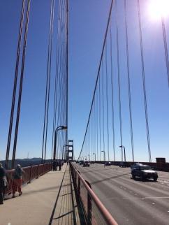 Biking back across bridge